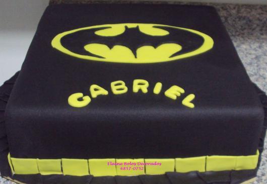 Bolo do Batman Quadrado de 1 andar preto