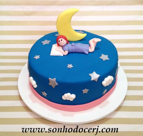 Como fazer uma festa do Pijama bolo de pasta americana com menina dormindo