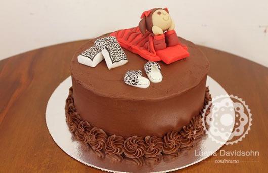Como fazer uma festa do Pijama bolo de chocolate com menina dormindo
