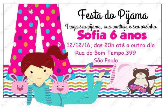 Como fazer uma festa do Pijama convite personalizado