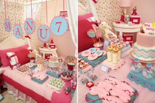 Como fazer uma festa do Pijama decoração rosa e azul