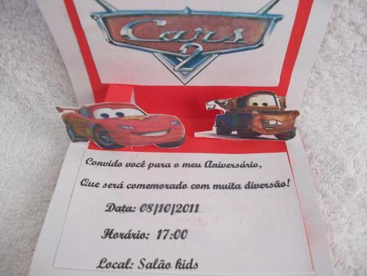 convites carros simples com papel branco