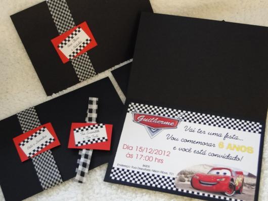 convites carros com envelope preto