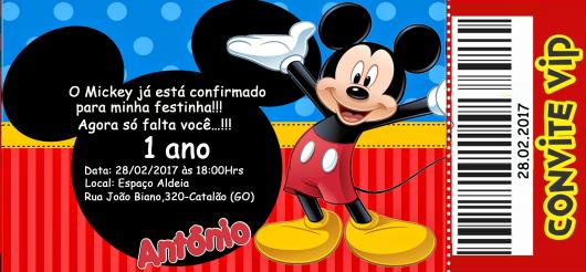 convite do Mickey para 1 ano