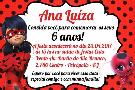 Convites Ladybug vermelho e branco com bolinhas pretas