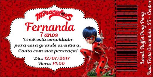 Convites Ladybug vermelho e branco no estilo ingresso