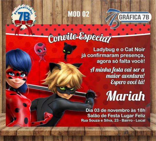 Convites Ladybug e Cat Noir