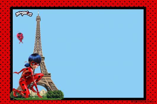 Convites Ladybug na Torre Eiffel para imprimir grátis