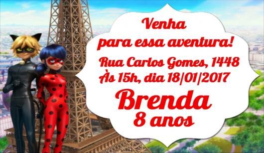 Convites Ladybug e Cat Noir na Torre Eiffel