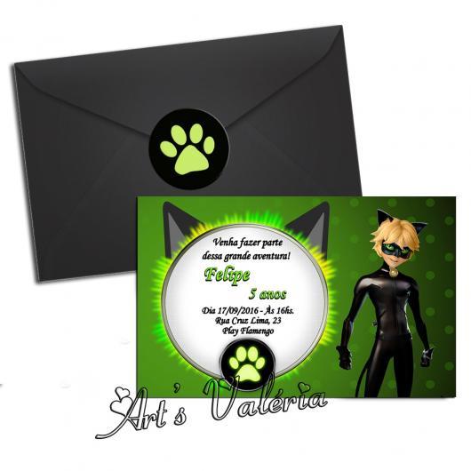 Convites Ladybug com Cat Noir no estilo cartão