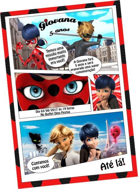 Convites Ladybug com Cat Noir no estilo gibi