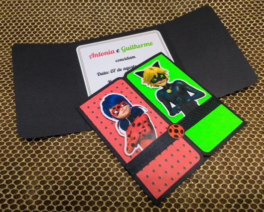 Convites Ladybug com Cat Noir no estilo scrap