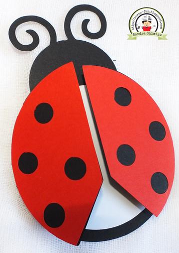 Convites Ladybug com Cat Noir no estilo scrap em formato de Joaninha