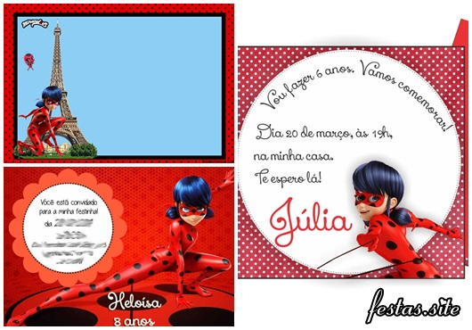 Convites Ladybug modelos