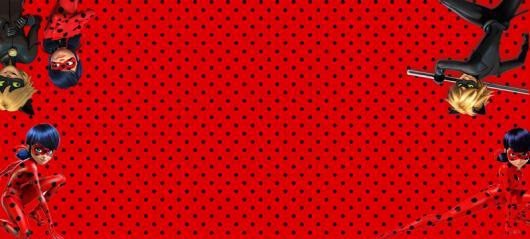 Convites Ladybug com Cat Noir para imprimir grátis com fundo vermelho de bolinhas pretas
