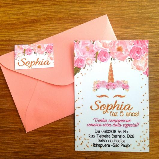 Convites Unicórnio Rosa com flores