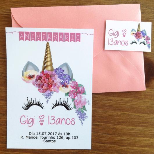 Convites Unicórnio Rosa com envelope