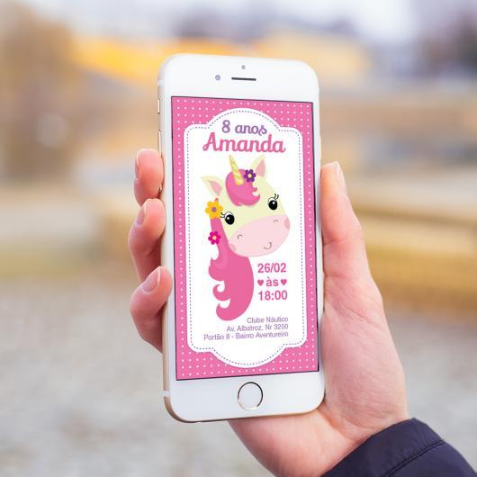 Convites Unicórnio Rosa animado no celular