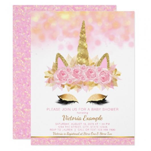 Convites Unicórnio Rosa com detalhes em dourado