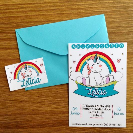 Convites Unicórnio Azul com envelope azul água