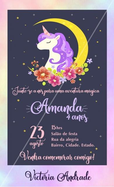 Convites Unicórnio Roxo com flores coloridas