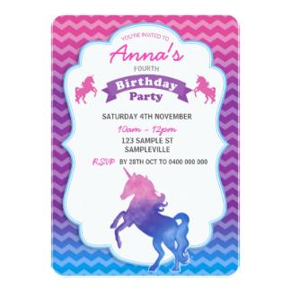 Convites Unicórnio Roxo, rosa e azul