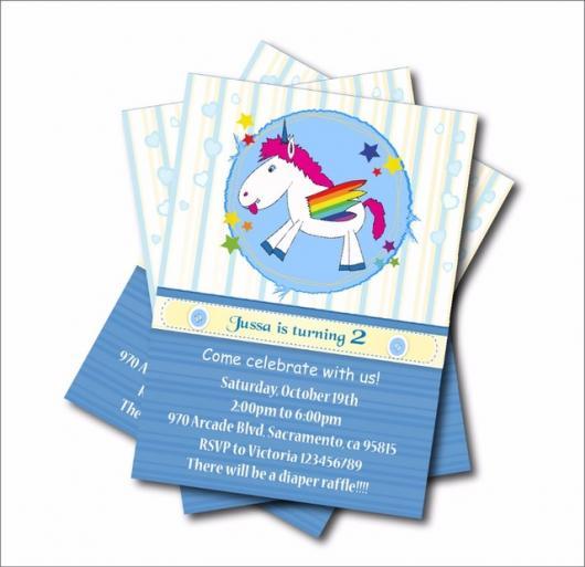 Convites Unicórnio Azul com parte branca