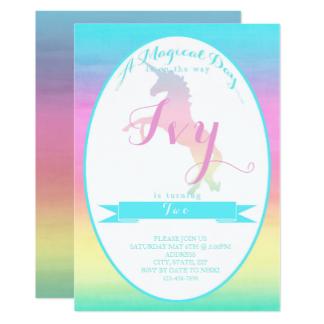 Convites Unicórnio Azul e tons de rosa