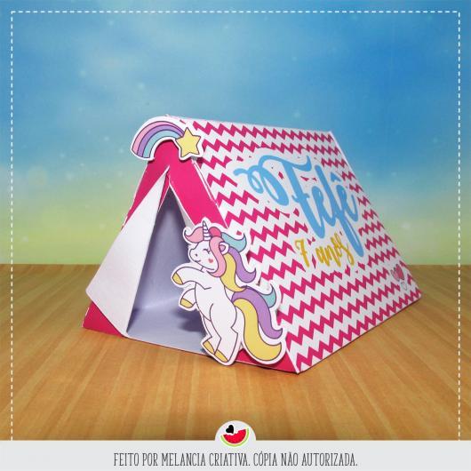 Convites Unicórnio Criativo em formato de cabana