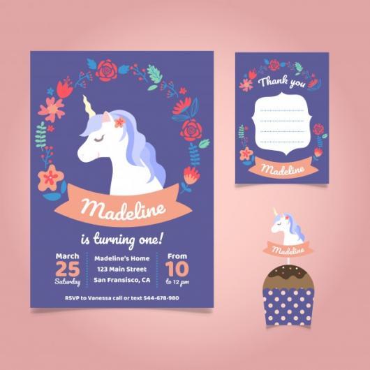 Convites Unicórnio Azul com detalhes em rosa