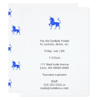 Convites Unicórnio Azul com fundo branco