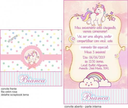 Convites Unicórnio Rosa e branco