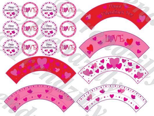 Cupcake para Dia dos Namorados Toppers e Wrappers de coração para imprimir