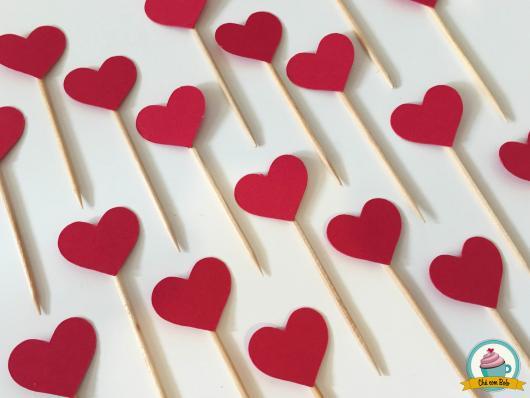 Cupcake para Dia dos Namorados Topper de coração de EVA