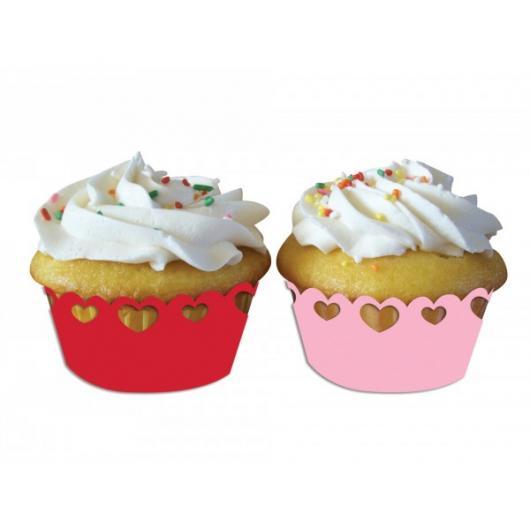Cupcake para Dia dos Namorados Wrappers de coração vazado