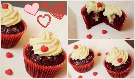 Cupcake para Dia dos Namorados de Chantilly com mini corações