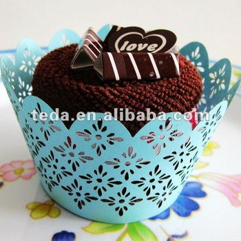 Cupcake para Dia dos Namorados Wrapper azul rendado