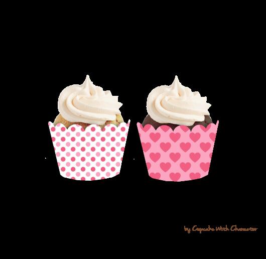 Cupcake para Dia dos Namorados Wrappers de coraçãozinho rosa