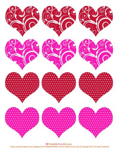 Cupcake para Dia dos Namorados Topper de coração com desenhos variados para imprimir