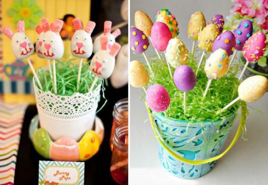 Decoração de Páscoa de EVA: vaso com ovos e coelhos