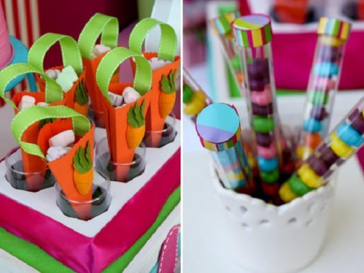 Decoração de Páscoa Simples e Barata com cone de papel em formato de cenoura