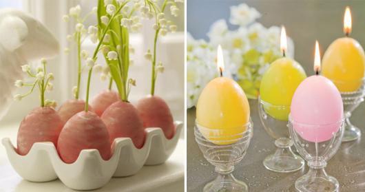 Decoração de Páscoa Simples e Barata velas em formato de ovos
