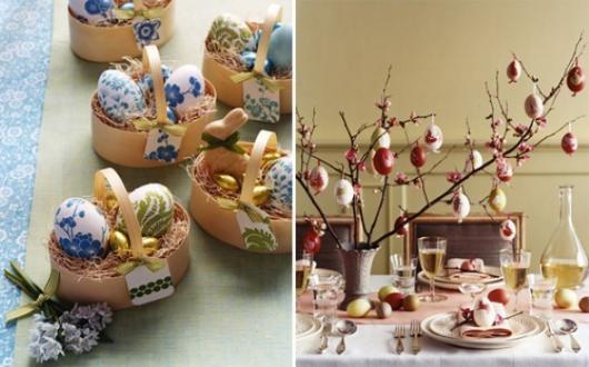 Decoração de Páscoa Para Mesa: galho de árvore seco com ovos