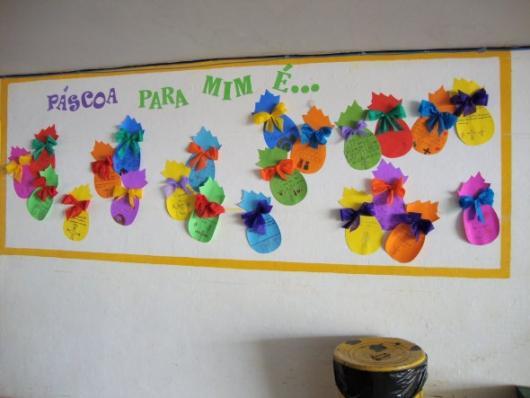 Decoração de Páscoa Para Escola: painel com ovos coloridos