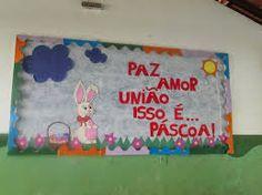 Decoração de Páscoa Para Escola: painel com frase
