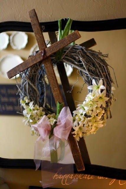 Decoração de Páscoa Para Igreja guirlanda com cruz