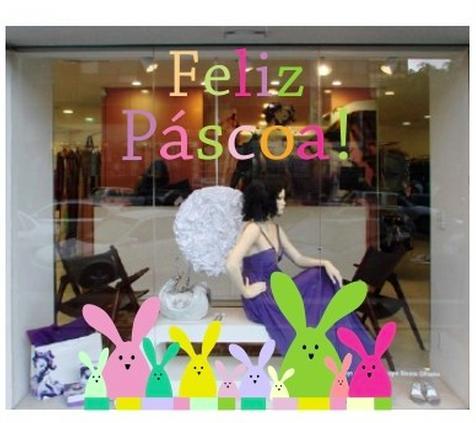 Decoração de Páscoa Para Loja: coelhos coloridos