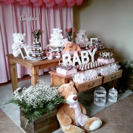 Decoração de Chá de Bebê de menina rústico