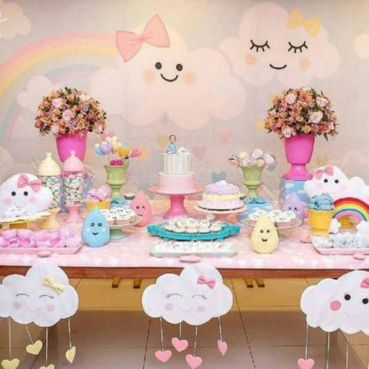 Decoração de Chá de Bebê de menina Chuva de Amor