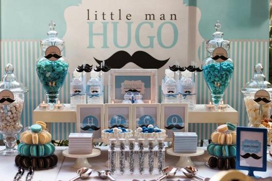 Decoração de Chá de Bebê de menino com tema Mustache